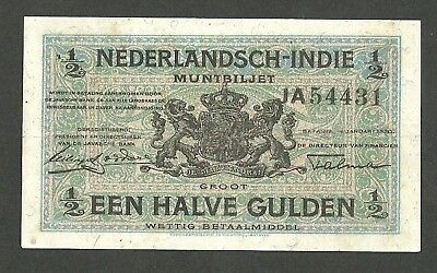 Netherlands Indies ½ Gulden 1920 Muntbiljet With Fibers Indonesia P102 X-SCARCE