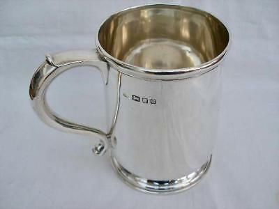 Superb English Military Interest Solid Sterling Silver One Pint Tankard.
