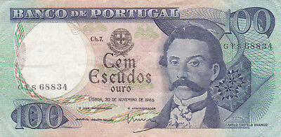 100 Escudos Vf Banknote From Portugal 1965!pick-169