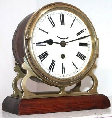 Antique Mid-1800's English Fusee Drum Mantel Clock On Ornate Brass & Wood Base