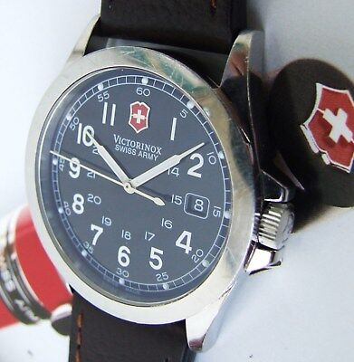 VicTorinoX SWISS ARMY~Men Polished INFANTRY~SaPphiRe+Black DiaL+NEW LeatHer BaNd
