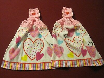 Lot Of 2 Valentines Day Pink Hearts Crochet Top Kitchen Bath Hand Towels