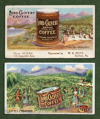 """2 LORD CALVERT COFFEE Ink Blotters - 3½""""x6"""", Levering Co, Baltimore MD, Fair"""