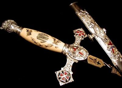 ILLUSTRIOUS MASONIC-MADE Antique ORNATE KNIGHTS TEMPLAR SWORD Vivid Enamel GREAT