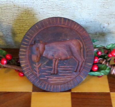 COW Butter Mold Primitive Round Carved Wood Wooden Butter Stamp Press
