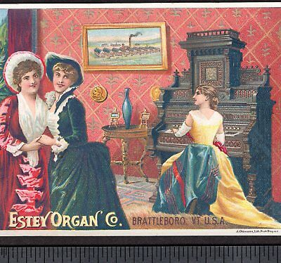 Estey Organ Brattleboro VT 1800's Factory View Victorian Advertising Trade Card