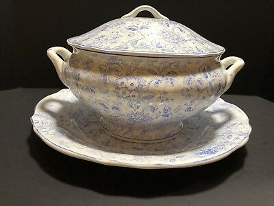Vintage Soup Tureen With Lid And Serving Plate Blue And White