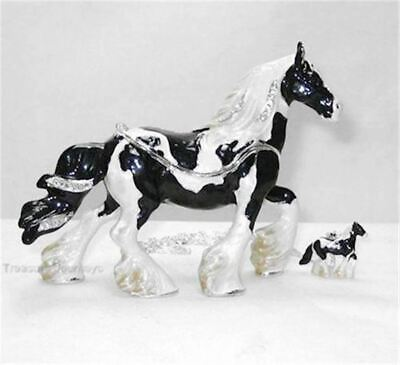 Gypsy Vanner Horse Jeweled Hinged Trinket Box w Matching Pendant on Necklace