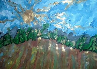 wheat  original painting by Artist PB outsider art floral impressionist realism