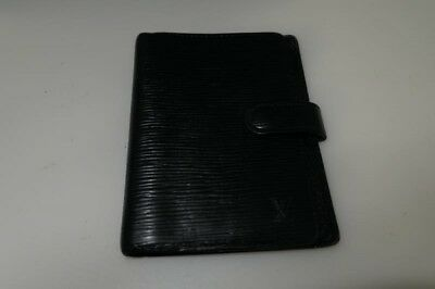Authentic Louis Vuitton Black Epi Agenda PM Diary Cover Organiser TA4831+%
