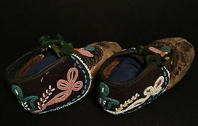 Rare Pair of 19th C. CHIPPEWA PICTORIAL BEADED MOCCASINS,Excellent,Provenance,NR