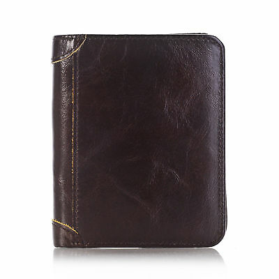 Men's Genuine Leather Wallet ID Card Holder Coin Purse Pocket Money Clip Brown
