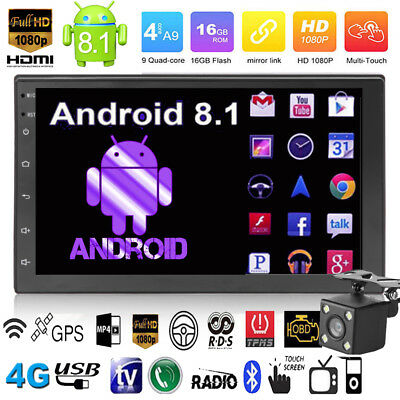 Android 8.1 WIFI 2DIN 7in HD GPS Navi Car Stereo MP5 Player Bluetooth FM Radio