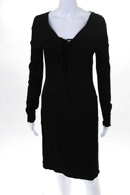 c23c0076e1b Gucci Womens Black Silk Lace Up V Neck Long Sleeve Dress Size EUR 46