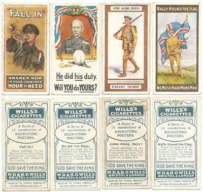 WILLS UK - 1915 : Recruiting Posters Part Set (4/12) Original Cigarette Cards