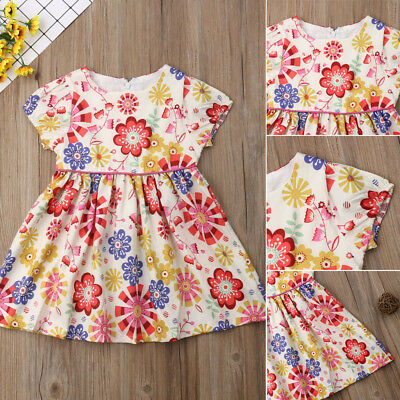 Cute Toddler Kid Baby Girl Short Sleeve Floral Party Princess Boho Pageant Dress