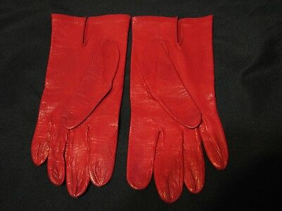 Vintage red leather ladies gloves small or medium size soft thin