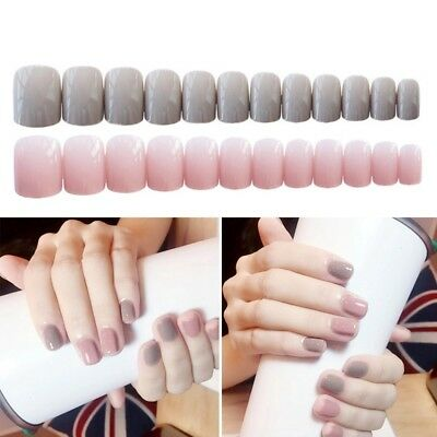 24pcs Gray Pink Style Full Cover Fake Artificial Nails False Art Solid Color Tip