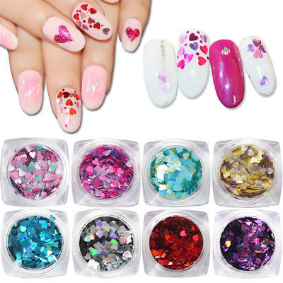 2X Mix Color Matte Pearl Nail Sequins Heart Shape Glitter Flakes Decoration Tips
