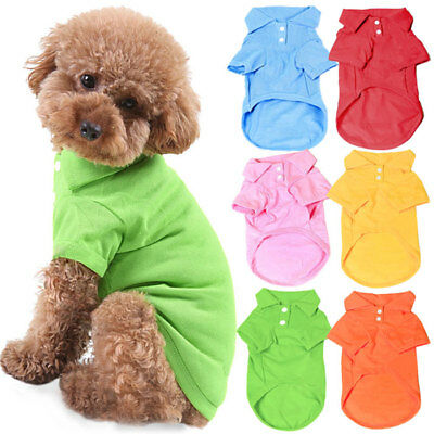 UK New Pet Dog Collar Puppy Cosy T-Shirt Clothes Outfit Apparel Coat Cotton XYO
