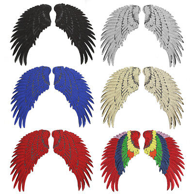 A Pair Wings Applique Sequins Feather Sew on Patches Clothes Decor