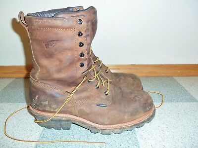 b0b77853349 RED WING LOGGERMAX logger steel toe leather work boots size 12 D #4417
