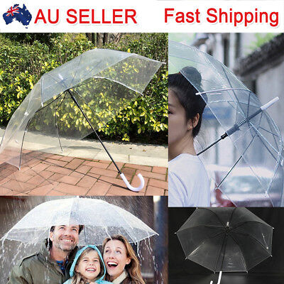 2PVC Set of Plastic Rain Umbrellas Dome Birdcage Clear Transparent Wedding Party