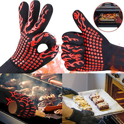 932°F/500°C Oven BBQ Grilling Glove Extreme Heat Resistant Cooking Silicone Mitt