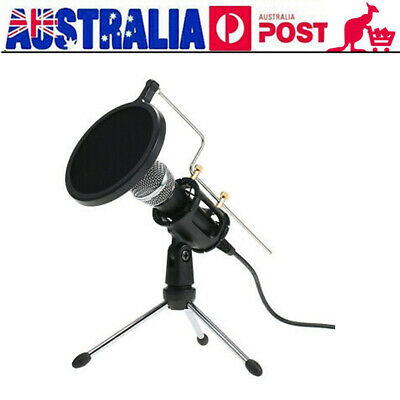 Condenser Microphone 3.5mm Studio Broadcast Podcast Mic w/ Tripod Stand for Game