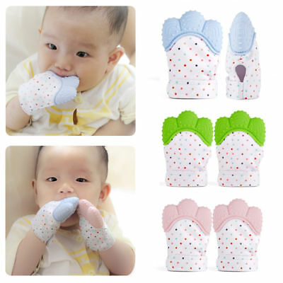 2x Silicone Baby Teething Mitt Teether Mitten Glove Safe Chew Dummy Toys Gift UK
