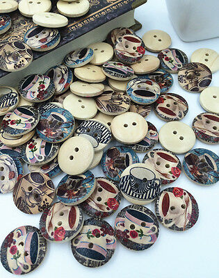50pcs 2 Holes Mixed coffee Tony pattern Wooden Buttons Fit Sewing Scrapbook 20mm