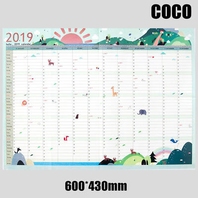 2019 Yearly Planner Annual Wall Chart Year Planner Calenda #COCO UK FAST