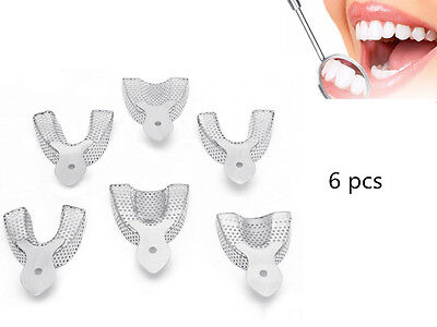 6Pcs Dental Autoclavable Metal Impression Trays Stainless Steel Upper&Lower JS