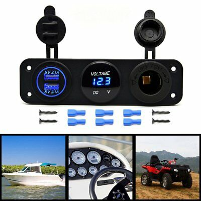 LED Digital Dual 2.1A USB Charger + Voltmeter +12V Socket+3 Hole Panel Marine FD