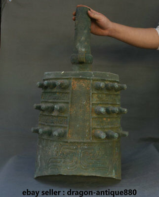 """24"""" Old Chinese Bronze Ware Dynasty Palace large clock bell Zhong Statue"""