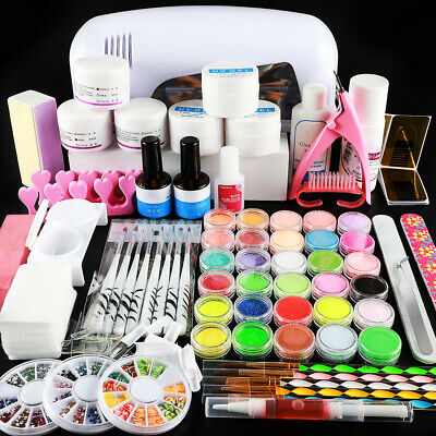 Complete UV Nail Art Kit Set  9W UV Lamp Builder UV Gel Glitter Powder UV Gel US