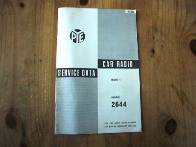 Pye Car Radio Model 2644 factory-issued service manual, 1960s, excellent order