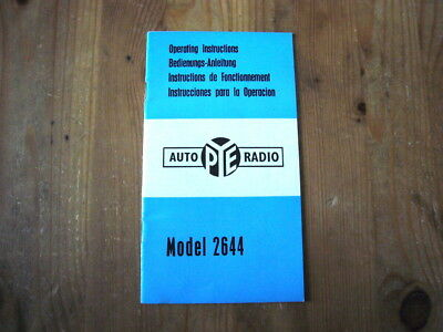Pye Car Radio Model 2644 factory-issued instruction manual, 1960s, superb order