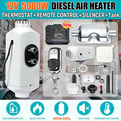 12V 5KW Diesel Air Heater Metal Shell +LCD Thermostat For Truck Trailer Car Boat