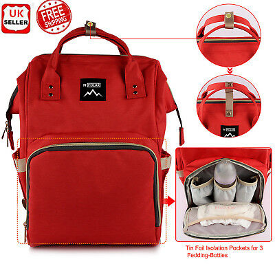 UK Multifunctional Nappy Large Mummy Changing Maternity Baby Bag Backpack Diaper