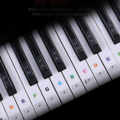 Colorful Music Keyboard Piano Stickers For 49, 54 ,61or 88-KEY Piano Removable