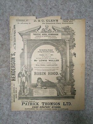 1907, Theatre Royal Edinburgh Programme, Lewis Waller London Company Robin Hood