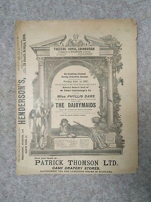 1907, Theatre Royal Edinburgh Programme, Miss Phyllis Dare in The Dairymaids