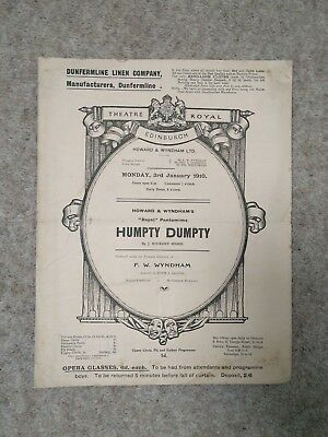 1910, Theatre Royal Edinburgh Programme, Humpty Dumpty, Howard & Wyndham Ltd