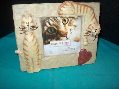 """Heart To Home """"cat"""" Picture Frame Reads 4 X 4 """" Inside Outside 7 1/2 X 6 """" Cute"""