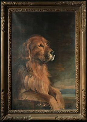 FINE ANTIQUE BRITISH 1920s DOG OIL PAINTING - THE FAVOURITE HOUND - LARGE CANVAS