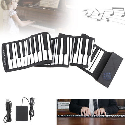 88 Key Electronic USB MIDI Roll Up Piano Keyboard Silicone Rechargeable + Pedal