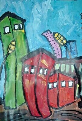 original painting art By Artist PB impressionist buildings abstract outsider