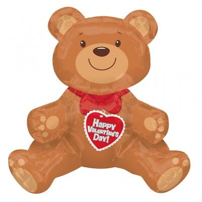 Brown Teddy Bear Shaped Foil Balloon Party Decoration Happy Valentine Day 27914