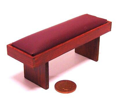 1:12 Scale Stained Wooden Barrel Chair With A Burgundy Seat Tumdee Dolls House